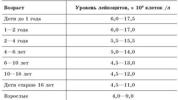 Норма лейкоцитов в моче таблица